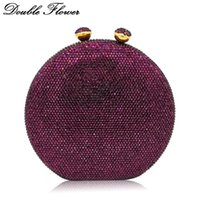 lila handtaschen hochzeit großhandel-Doppelter Blumen-Kuss-Haken-runde Kreis-Frauen-purpurrote Kristallkupplungs-Abend-Handtaschen-schwerer Fall-Hochzeits-Cocktail-Diamant-Tasche