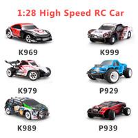 rc rtr al por mayor-Wltoys 1:28 RTR RC Car 2.4G 4WD 4 Channles 30KM / H RC Drift Carreras de coches K969 / K979 / K989 / K999 / P929 / P939 6 estilos para la selección