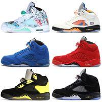 sapatos de camurça azul para venda venda por atacado-Venda barato 5 5S Asas de Vôo Internacional Dos Homens Tênis de Basquete Vermelho Azul Camurça Countdown Pack Hornets homens tênis esportivos desenhadores formadores