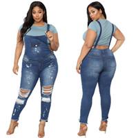 tulumlar önlükler kadınlar toptan satış-Marka Yeni kadın Kot Tulum Tayt Bib Genel Ripped Denim Pantolon Artı Boyutu Pantolon