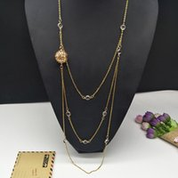 из нержавеющей стали длиной цепи ювелирных изделий оптовых-New Arrived three Layers Long Necklace gold stainless steel chain with round glass  Necklace Women jewellery oil