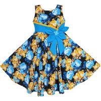 pajarita de oro para niños al por mayor-Sunny Fashion Flower Girl Dress Bohemia Gold Blue Bow Tie Todos los días Ropa de verano Algodón para niños 2018 Summer Princess Tamaño 6-12