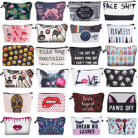 Wholesale cute makeup bags resale online - 3D Printing Makeup Bags With Multicolor Pattern Cute Cosmetics Pouchs For Travel Ladies Pouch Women Cosmetic Bag styles