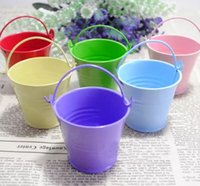 Wholesale tin buckets favors online - Many colors available Sweet Candy Mini Tin Pails favors Tin candy gift package Mini Bucket Wedding party Favors
