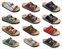 chaussures à talons de plage achat en gros de-Nouvelle Marque Arizona Brik Hommes Liège Talon Plat Sandales Femmes Mode Summer Beach Casual Chaussures Avec Boucle En Gros Véritable chaussures en cuir