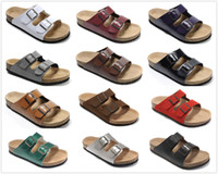 hakiki deri erkek sandalet toptan satış-Yeni Marka Arizona Brik Erkekler Mantar Düz Topuk Sandalet Kadın Moda Yaz Plaj Rahat Ayakkabı Toka Ile Toptan Hakiki Deri ayakkabı