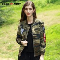 Wholesale Female Military Jackets - 2017 Autumn Pilot Jacket Designer Bomber Jacket Female Military Army Camouflage Jacket Women Zipper Fashion Coat Jackets Ladies GS-8823C