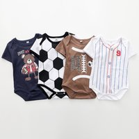 Wholesale baby boys sports clothes for sale - Group buy Baby boys soccer football baseball print romper INS Short sleeve Jumpsuits summer Boutique kids sports Climbing clothes colors C4011