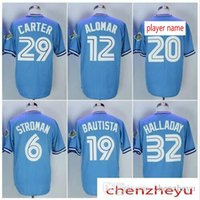 Wholesale baseball joe - Men's Toronto jersey 12 Roberto Alomar 19 Jose Bautista 32 Roy Halladay 29 Joe Carter 6 Marcus Stroman Baseball jerseys.