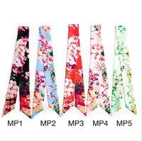 Discount ladies spring handbags - Cheapest Geranium Flower Print Design Silk Scarf Small Ribbon Summer Spring Women Ladies Vintage Handbags Bag Handle Wholesale