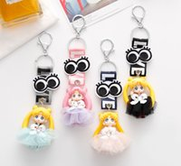 Wholesale sailor ribbon resale online - Cartoon Sailor Moon Fairys Doll Cute Keychain With Ribbon LOVE Printed Anime Key Ring Key Holder Pendant Gifts D538L