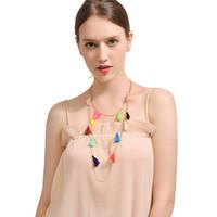 Wholesale cotton choker necklaces - Ingemark Multilayer Boho Ethnic Beaded Choker Necklace Multicolor Pom Cotton Ball Tassel Fringe Statement Necklace for Women
