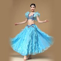 Wholesale ballroom dresses for women - Dresses New Arrival Belly Dance Suit For Ladies Rose red White Blue Original Belt+Belt Beauty Women Ballroom Performance Costume 2018