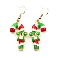 fille 2018 Alliage chaud à la mode Bonbons couleurs Joyeux Noël candy cane Dangle boucles d'oreilles béquille drop boucles d'oreilles bâton de marche Dangle boucles d'oreilles e335