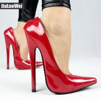 Wholesale Vogue Careers - Free Ship2018 NEW 18cm T-stage show sexy high heels Unisex cross-dressing BDSM Cosplay shoes patent leather pointed toe vogue pumps big size