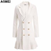 roupa de inverno escritório feminino venda por atacado-Nova Moda Terno Mulheres Blazer Workwear Branco Com Plissado Escritório Senhoras Longas Blaser Roupas Outono Botão de Ouro Primavera Inverno Top