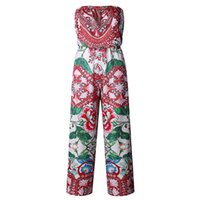 Wholesale Floral Strapless Jumpsuit - Strapless Women Jumpsuit Print Floral Sleeveless Rompers Women Track Suits 2018 Summer Beach WS6360U