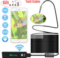 Wholesale wifi snake camera - 2018 hot TRINIDAD WOLF Wifi Endoscope 8mm 1200P HD For Iphone Android Soft Semi Rigid Hard Tube Pipe Snake Camera Inspection Borescope