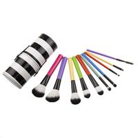 ingrosso spazzole per labbra-NUOVA nuova maniglia colorata Pennelli per trucco Set 10 pezzi / set Manico in legno Spazzole colorate Pennello professionale in polvere per arrossire