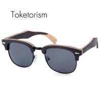 Wholesale Restore Wood - Toketorism Bithday gift wooden sunglasses men's polarized women half-frame restoring ancient ways wood occhiali da sole 6303