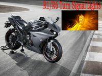 yamaha yzf r1 al por mayor-Luces de señal de giro LED Parpadeantes Indicadores Luces intermitentes Luces de montaje al ras para Yamaha YZF R1 / R6 luz amarilla de la moto