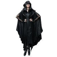Wholesale Trench Coat Couple - New Style Punk Women Black Mysterious Loose Long Cloak Coats Gothic Halloween Men's Bat Cape Casual Couples Trench Coats