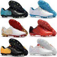 tiempo ayakkabıları toptan satış-Yeni Varış 2018 Mens Üst Tiempo Legend VII FG Futbol Çizmeler Deri Futbol Ayakkabıları Tiempo Totti X Roma FG Futbol Kramponlar Siyah Altın Beyaz Kırmızı