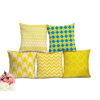 Wholesale nordic knitted - Bohemian Yellow Cushion Covers Nordic Geometric Print Home Decorative Throw Pillowcase capa de almofada decorativa
