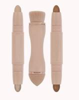 juegos de pinceles de maquillaje para la venta al por mayor-2019 Hot Sale Beauty Contour Sticks 2 en 1 doble crema corrector Highlighter Stick maquillaje Set + Bronzed Puff Brush Supply envío gratis