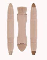 kapatıcı ayarla kontur toptan satış-2019 Sıcak Satış Güzellik Kontur 2 in 1 çift uçlu Krem Kapatıcı Fosforlu Çubuk Makyaj Seti + Bronzlaşmış Puf Fırça Kaynağı Ücretsiz Nakliye