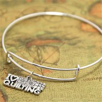 Wholesale jewelry sewing charms - 12pcs lot I Love Quilting bracelet Charm bangles adjustable Quilting Jewelry, Sewing Quilter Gift