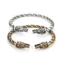 wolfskopf armbänder großhandel-MQCHUN Mode-accessoires Viking Teen Wolf Kopf Armband Indischen Schmuck Armband Männer Armband Manschette Armbänder Für Frauen Armreif