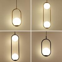 küre kolye lambası toptan satış-İskandinav Minimalizm Cam Küre Led Kolye Işık Yemek Odası 1 Işık 2 Işık Plakası Metal Sarkıt Asılı Lamba Lamba Askıya