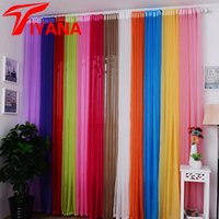 Wholesale voile sale - Hot Sale Rainbow Solid Voile Door Window Curtain Drape Panel Sheer Tulle For Home Decor Living Room Bedroom Kitchen P184z15