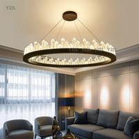lustres modernes en métal et cristal achat en gros de-Lustre en cristal moderne lustre nordique luxe rond designer concepteur circulaire salon en métal personnalité créative lustre éclairage