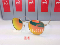 Wholesale gold rimless glass for sale - High Quality Fashion Round Sunglasses Mens Womens Designer Brand Sun Glasses Gold Metal Black Dark mm Glass Lenses Better with Case