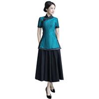 falda qipao al por mayor-Vintage chino blusa falda establece mujeres camisa de manga corta de encaje collar mandarín 2 unid ropa verano Qipao vestido talla S-XXXL 9969