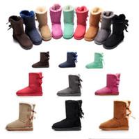 Mujeres Hombres UG Botas de Piel de Nieve Diseñador de la Marca Australiana  Ug Unisex Impermeable de Invierno Cálido Bowknot Botas a media pierna  Zapatos al ... 114524163e2b1
