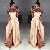 64ae48bb3f6 Wholesale chiffon split front maternity dress for sale - Stunning Champagne  Lace Chiffon Prom Dresses Sexy