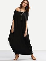 асимметричное платье batwing оптовых-Леди большой размер S-2XL свободные длинное платье женщины краткое короткие batwing рукавом сплошной цвет неравномерность асимметричный длинное платье