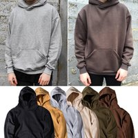 Wholesale Cool Hooded Sweatshirts - Men's Hoodie Sweatshirt Kanye Hip Hop Streetwear Male Oversized Plain Pullover Hoodies Cool Winter Hooded Sweatshirt Jacket Coat SHG1102