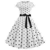 neue pin ups groihandel-2019 neue Frauen Vintage Kleid weiße Polka Dot Sommer Kleider Plus Größe Pin Up Print Retro 50er Jahre Rockabilly Party Sommerkleid Vestidos