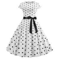 elbise partisi beyaz noktalar toptan satış-2019 Yeni Kadın Vintage Elbise Beyaz Polka Dot Yaz Elbiseler Artı Boyutu Pin Up Baskı Retro 50 s Rockabilly Parti Sundress Vestidos