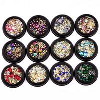 perles de manucure achat en gros de-Or Métal Nail Goujons Strass Bijoux Rivet Perle Mélanges Tailles Perles Cadre Paillettes Manucure 3D Nail Art Décoration 12 pcs / ensemble