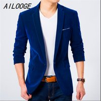 b5ad843672e AILOOGE Mens Blazer Slim Fit Suit Jacket Black Navy Blue Velvet 2017 Spring  Autumn Outwear Coat Free Shipping Suits For Men. 34% Off
