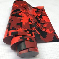 Wholesale Car Wrap Bubble Free Black - wholesale Red Black Digital Military Camo Film With Air Bubble Free Motorcycle Car Mirror Adhesive PVC Camouflage Vinyl Wrap