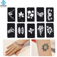 Wholesale glitter henna for sale - stencil OPHIR Reuse Henna Temporary Stencils Airbrush Stencils for Body Painting Glitter Tattoo Template Sheets _TA032A