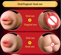 ingrosso realistico figa 3d-Realistico orale 3D gola profonda con denti lingua artificiale vagina anale Masturbatori maschile tasca reale figa giocattoli del sesso orale per gli uomini
