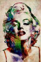 imagens de marilyn wall venda por atacado-Sexy colorido marilyn monroe pintura fotos abstratas cópias da arte da parede na lona imagem para sala de estar home decor unframed
