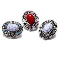 Wholesale red gemstone buttons resale online - 20pcs fashion Artificial Gemstone snap Button Charm Antique Silver Retro Metal Jewelry mm Ginger Snap fit Bracelet Necklace